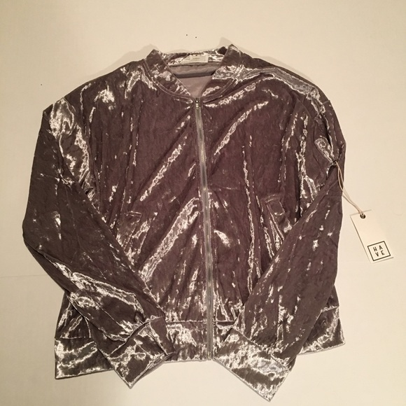 Have Jackets & Blazers - NWT Crushed Silver Velvet Track Jacket